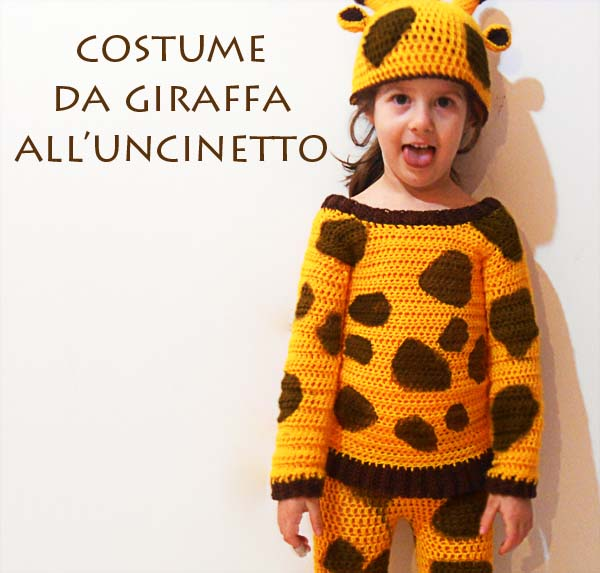 Costume da giraffa all'uncinetto con cuffietta