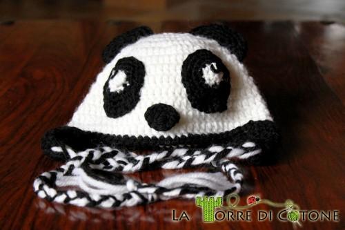 Cappellino a forma di panda per bambini all'uncinetto, pattern