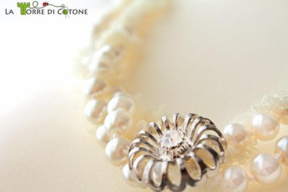 Collana romantica in perle e pizzo
